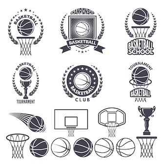バスケットボールの白黒写真とスポーツのロゴ。