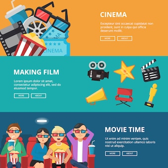 Горизонтальные баннеры на тему кино. мужские и женские персонажи смотрят фильмы