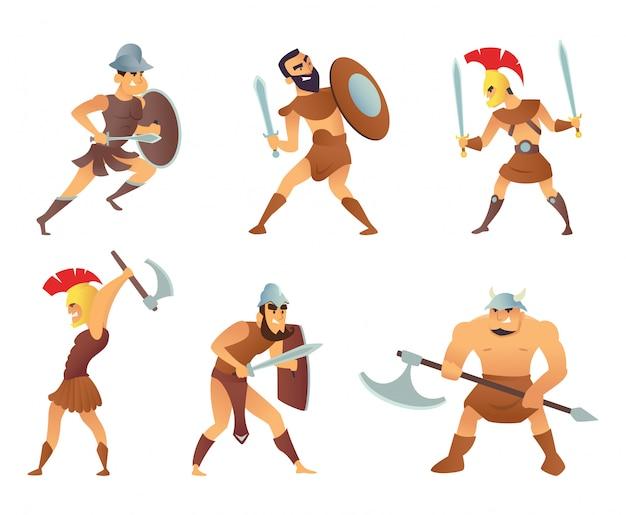 ローマの騎士や剣闘士のさまざまな行動のポーズ