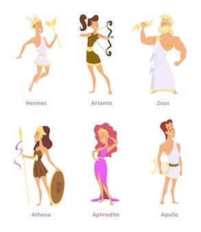 ギリシャの古代の神々。漫画のキャラクターの男性と女性のセット