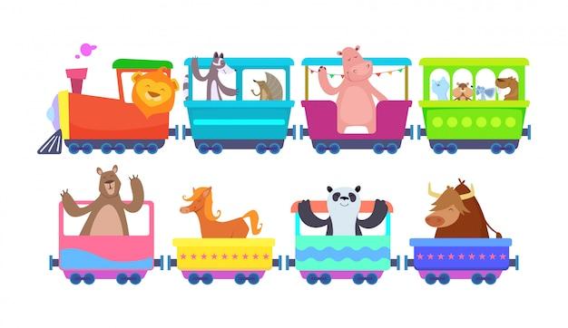 面白い漫画の動物が漫画の列車に乗る