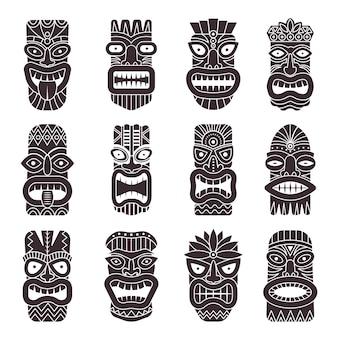 部族の神ティキの白黒セット