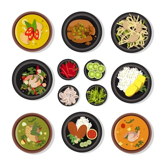 Векторные иллюстрации тайской кухни