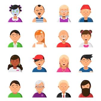 Смешные мультипликационные лица. аватары в плоском стиле