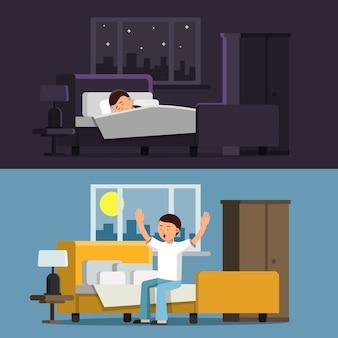 Спящий человек в постели ночью. мужчина утром