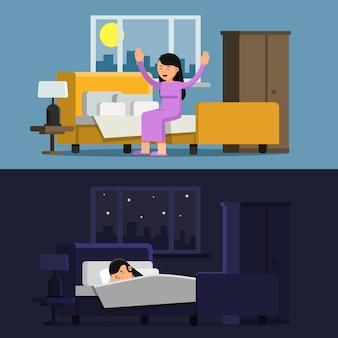 ベッドで眠っている少女。朝の女性
