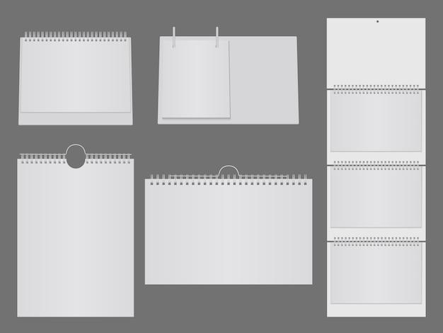 金属製のスパイラルと空白のテーブルカレンダーのテンプレート。