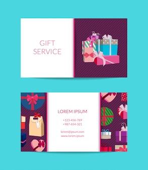 Подарочный сервис, магазин шаблон визитной карточки с подарочными коробками или пакетами.