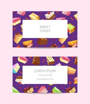 菓子屋、料理教室またはペストリーショップ名刺テンプレート