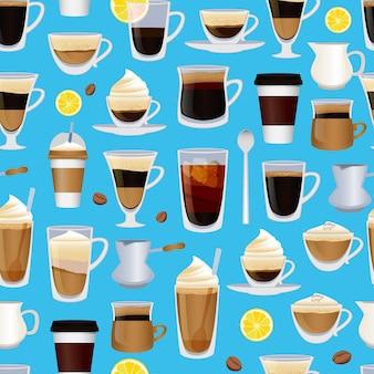 コーヒーや別の飲み物のパターンでいっぱいのカップや