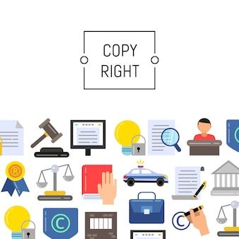 テキストのための場所を持つフラットスタイルの著作権要素