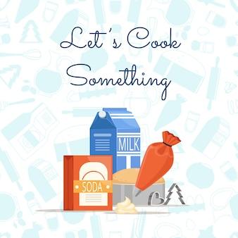 テキストやモノクロのフラットスタイルの食料品のための場所と調理食材や食料品の山