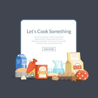 Готовить ингредиенты или продукты в кучу под рамкой с местом для текста