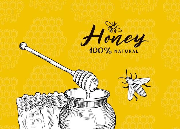 ハニカム構造の輪郭を描かれた蜂蜜テーマ要素をスケッチします。