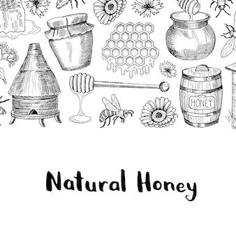 テキストのための場所を持つスケッチ蜂蜜テーマ要素を持つ