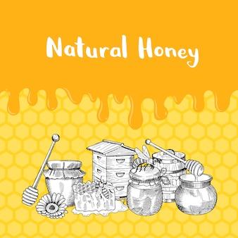 スケッチされた輪郭を描かれた蜂蜜のテーマの要素を使って、蜂蜜とハニカム上のテキストのための場所を滴下