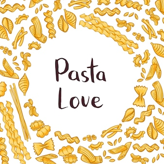 中央のテキストのためのプレーンスペースを持つパスタ要素。イタリアンパスタのデザイン、マカロニとスパゲッティ