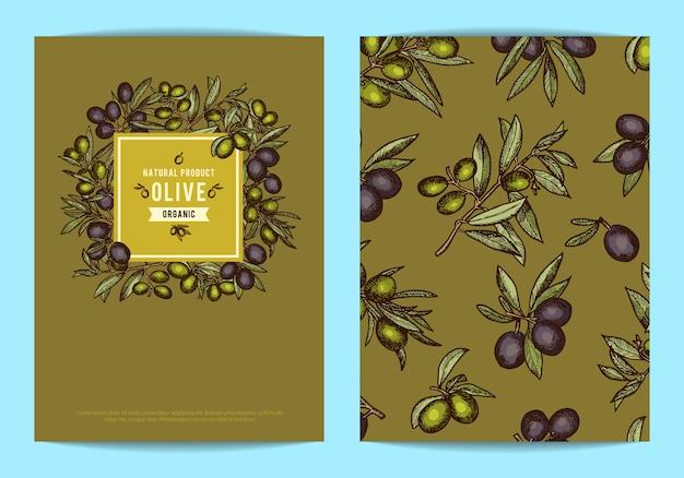 手描きのオリーブの枝を持つ石油会社のテキストのための場所を持つカードまたはチラシテンプレート