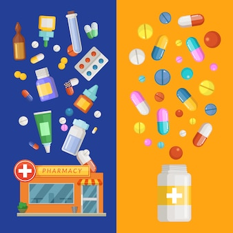 薬や薬瓶から広がっている薬や薬と薬垂直バナーテンプレート。