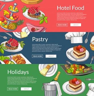 Шаблоны веб-баннеров с рисованной ресторан или элементы обслуживания номеров