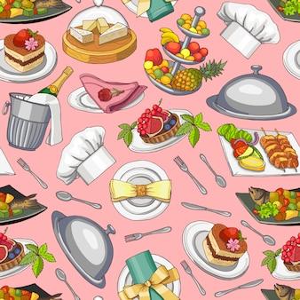 手描きのレストランやルームサービスの要素