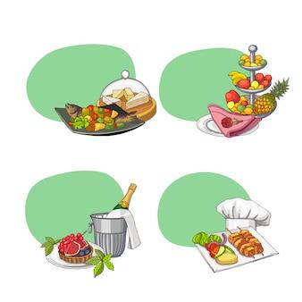 テキストと手描きのレストランやルームサービスのための場所とステッカー