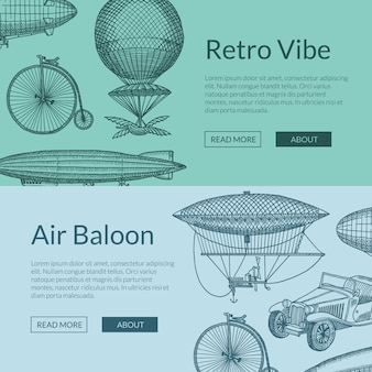 手描きの飛行船、自転車、車