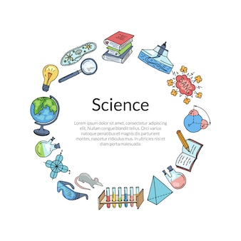 科学や化学の要素をスケッチ