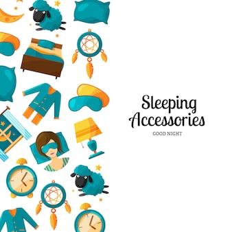 漫画睡眠要素とバナーとポスターの背景