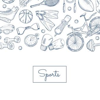 手描きの輪郭を描かれたスポーツ用品
