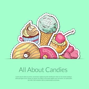 Рисованной сладости в кармане с местом для текста