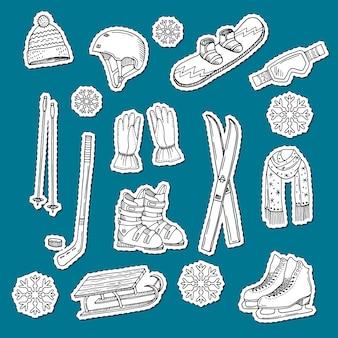 手描きの輪郭を描かれたウィンタースポーツ用品と属性ステッカー。