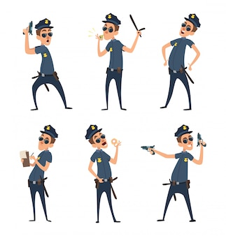 さまざまな行動をとる警官がポーズします。漫画スタイルのセキュリティメンズ