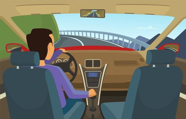 彼の車の中の運転手漫画のスタイルのベクトル図です。ドライバー車、道路上の自動車輸送