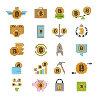 暗号ビジネスのアイコンセット。ビットコインなどがブロックチェーン技術からコインを代替する