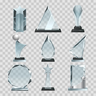 クリスタルガラストロフィーや透明の賞。ガラスクリスタルアワード、空白のトロフィー透明。ベクトルイラスト
