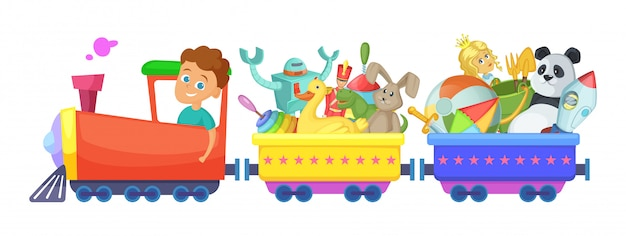 Детские игрушки в поезде. векторные иллюстрации мультфильм изолированные