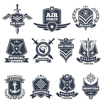 Военные логотипы и значки. армейские символы изолированы