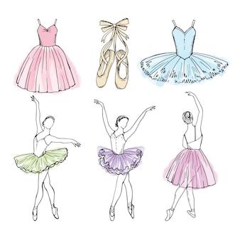 さまざまなバレエダンサーのベクター画像をスケッチします。バレリーナの手描きイラスト