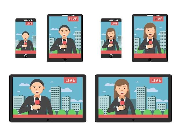 さまざまなデジタル機器のスマートフォンやタブレットの画面上のニュース