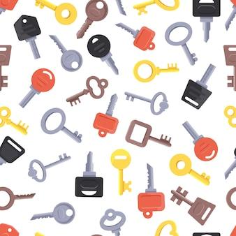 別のキーとのシームレスなパターン。開いているロックまたはドアのベクトル図のカラーキーとパターン