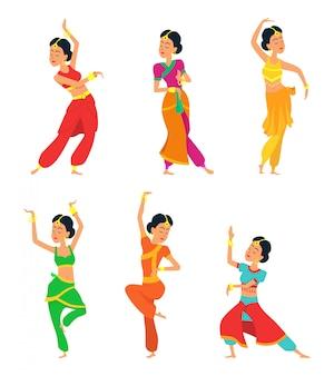 Индийские танцоры изолированы. набор символов