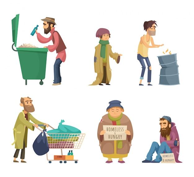 Бедные и бездомные взрослые люди. набор векторных символов