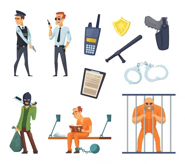刑事キャラクターと警官