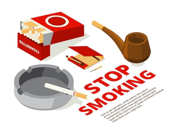 禁煙のテーマのコンセプトイラスト。喫煙者のための道具の様々な等角投影写真