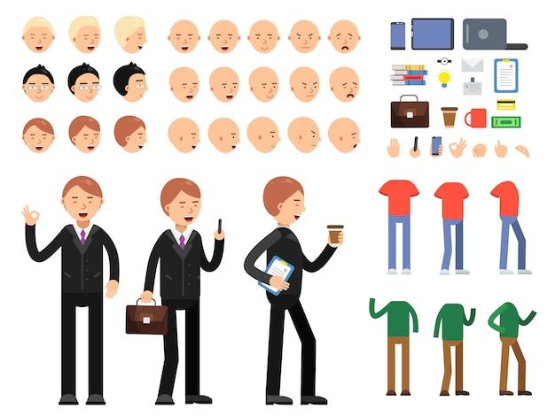 ビジネス文字のベクトルコンストラクター。さまざまな感情やポーズを持つ衣装を着た男性
