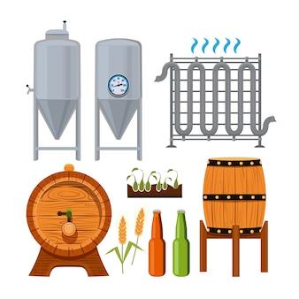 醸造ビール生産のセット。ベクトルアルコールビール、醸造所ドリンクイラスト