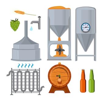 醸造所のための機器。漫画のスタイルの写真。ビール、アルコール、ビール醸造所ラガー飲料、ベクトルイラスト
