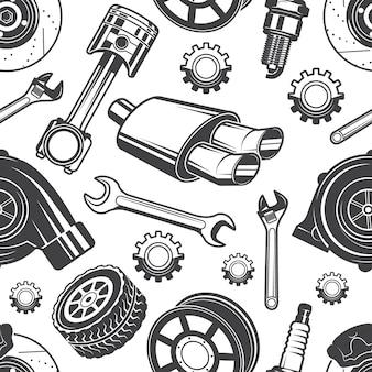 Монохромный фон с автомобильными инструментами и деталями. части для ремонта автомобиля картины, детали тормоза и свечи, векторная иллюстрация