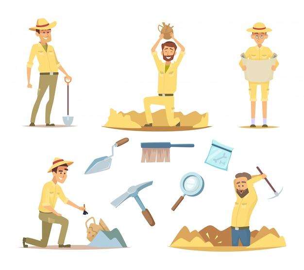 Вектор археолог персонажей на работе. мультфильм талисманов в боевых позах